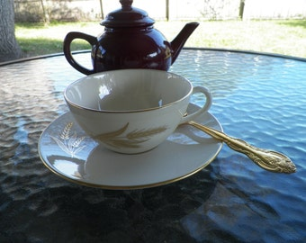 Lenox Fine China Wheat Gold Trimmed Tea Cup and Saucer