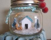 Small Glass Jar with Green Christmas Trees & Aqua Glittered House/Christmas Scene and Snow