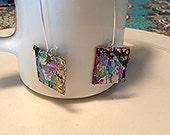 hand painted wearable art hoop earrings