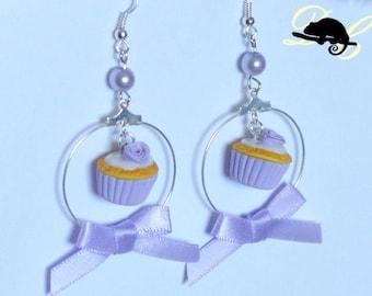 Ribbons & Roses Cupcake Earrings - Lilac- (In Stock)