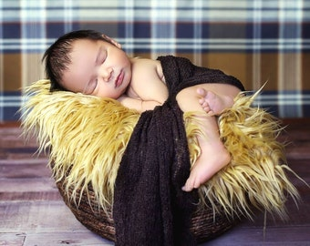 Custom color 2 pc set: Stretch Knit Wrap and Faux Mongolian fur, newborn baby layer photography prop