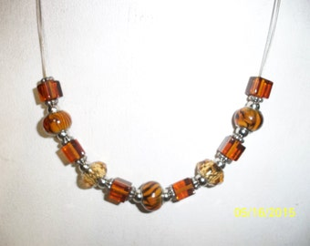 beads and glass  handmade necklace