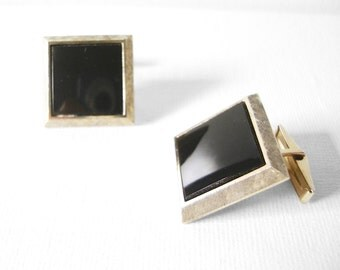 Vintage Vermeil Sterling Silver Square Cufflinks With Black Jet Stone