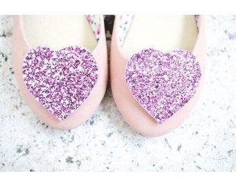 Light Pink Shoe Clips, Glitter Heart shoe clips, bridal Shoe clips, Shoe accessory