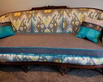 1930s Antique Modern Ikat Sofa