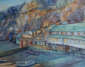 SALE  Original watercolour landscape of Clovelly, Devon