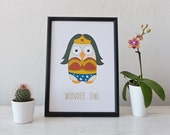 Wonder Owl A4 Print (Wonder Woman)