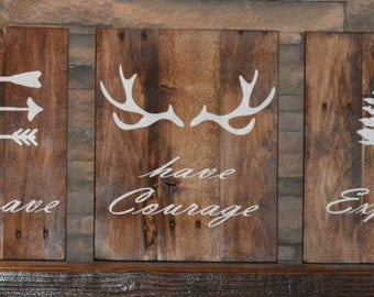 Be Brave Have Courage Explore Set of Three Signs Made From Reclaimed Wood Perfect For a Boy's Room, Nursery, Man Cave or Cabin Rustic Chic