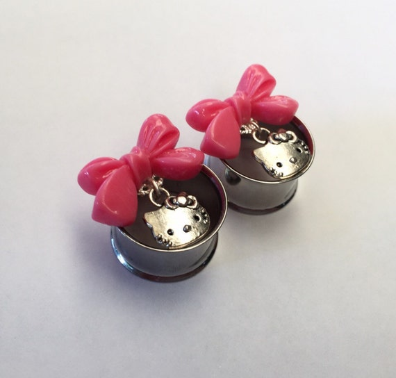 19mm 3 4 pink bow hello kitty ear tunnels. Black Bedroom Furniture Sets. Home Design Ideas