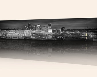 Pittsburgh Panorama Photo, selective color HDR photograph, black, white, yellow and green, fine photography print, A Pittsburgh Christmas