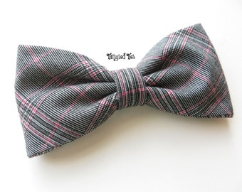 Grey Pink Plaid BOW TIE, Pink Grey Plaid Bow Tie, Men's Bow Tie, Women's Bow Tie, Wedding Bow TIes, Groomsmen Bow Ties
