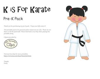 K is for Karate preschool pack