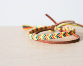 Friendship Bracelet Orange, Green and Yellow Chevron Cord Knotted Fiber