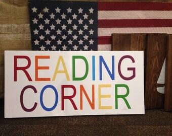 Reading Corner Kids Room Playroom Home Decor Sign
