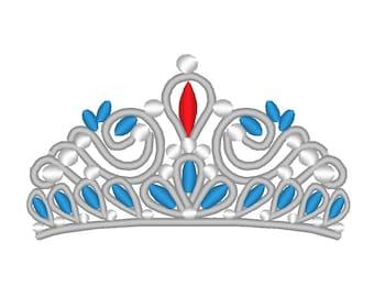 Jeweled Tiara Princess Crown Embroidery Machine Design