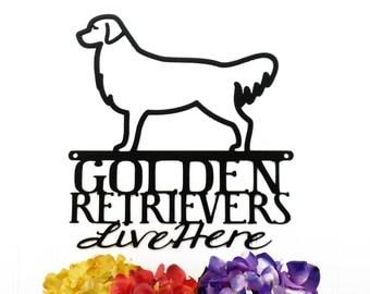 Golden Retrievers Live Here Metal Sign - Black, 11.5x12, Retriever, Golden, Dog Sign, Metal Wall Art, Outdoor Sign