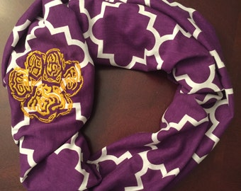 Monogrammed Infinity LSU Tiger paw with free 3-Letter initial