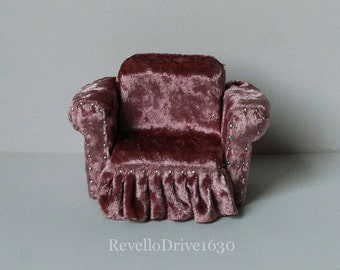 Armchair, velvet, choose your color, miniature dollhouse 1/12