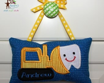 Tooth Fairy Pillow, Boy's Personalized Tooth Fairy Pillow, appliqued bulldozer design, free note from tooth fairy included