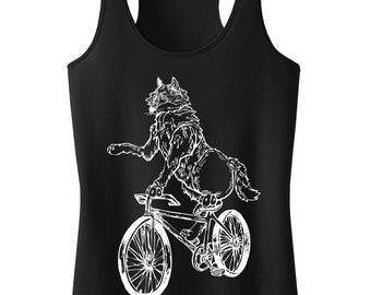 Wolf On Bicycle Tank Top.Women's District Apparel Polly Cotton Racerback Tank.Wolf Clothing.Bike Shirt.Bicycle Shirt.Wolf Tank Top.Bicycle