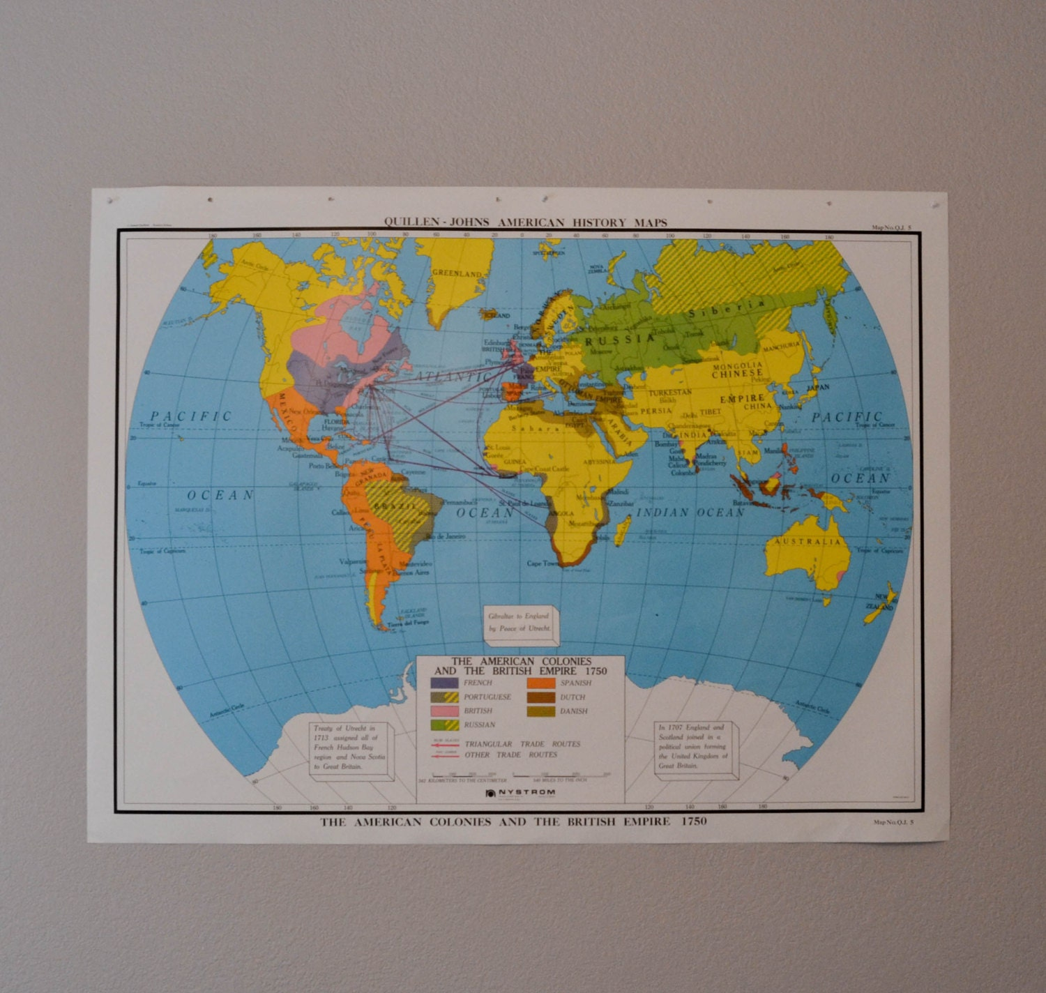Vintage World Map Large United States by PeachParlorVintage