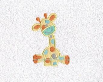 Small Happy Sitting Giraffe Applique