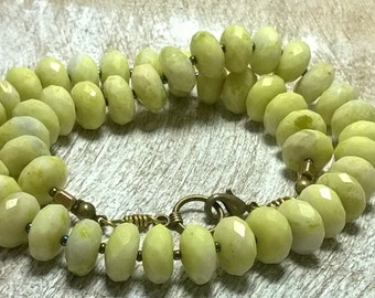 Statement Women's Faceted Lemon Jade Necklace/ Rustic Lemon Lime Green Yellow Stones/Boho Chic gemstone/made to order/@ IndigoLayne