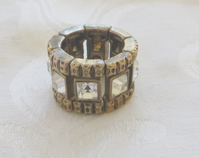 Vintage Crystal Ring Baguette Cut Stretch Expandable Fashion Statement Ring