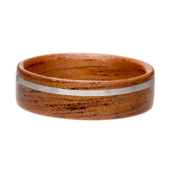 Bentwood Ring - Mahogany with Gold or Silver Inlay Bentwood Wooden Ring