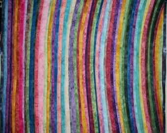 Hand-dyed Strip Quilt - Lap Quilt - Throw Quilt - Bed Topper - Multi Colored