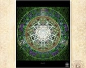 Green Aya -  print a3 a4 a5 sizes.mandala,green,aya,visions,psy,festival,dream,