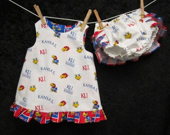 University of Kansas REVERSIBLE PINAFORE SET, baby clothing, pinafore sets, cotton diaper covers