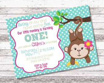Girl's Monkey Birthday Invitation | Our Little Monkey | Swing On By | 1st 2nd Any Age Birthday | Monkey Birthday | Girl's Birthday | Digital
