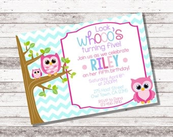 Girl's Owl Birthday Invitation | 1st 2nd Birthday | Owl Birthday Party | Owl Birthday Any Age | Girl Birthday Invite | Pink | Digital Invite