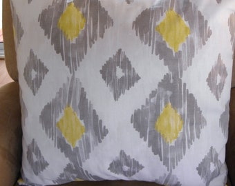 Big Sale !!! Ikat Diamond Shapes In Gray And Yellow Pillow Covers 20x20