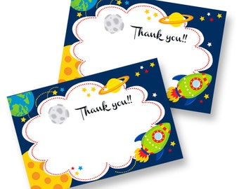 "Space Rocket ""Thank you"" card printable for Baby Shower, etc Card // Gender Neutral Birthday Party INSTANT DOWNLOAD"