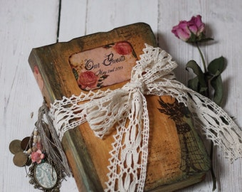 Fall Wedding guest book, personalised rustic autumn wedding scrapbook photo album - Made to Order- 8.5X6''