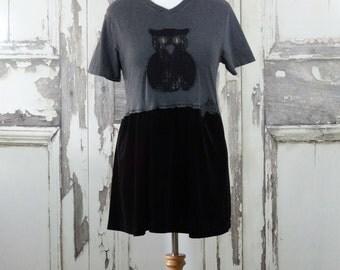 Women's Goth Owl Dress Grey T-shirt Top Black Stretch Velvet Skirt Dark Fairy Upcycled Clothing Halloween Clothing