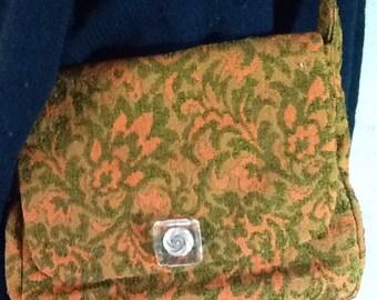 Carpetbag,Tapestry Shoulder Bag,Purse,Orange and Green