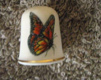 Butterfly OrangeThimble  Porcelain Vintage Collectible T8