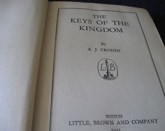 The Keys Of The Kingdom by AJ Cronin 1941 Vintage 1st Edition B4