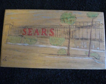 """Drawing Sign of a Sears Store on Wood signed Alain 1979  7 1/2"""" x 4 1/4"""" CL4-22"""
