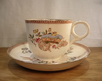 "Antique 1890s J F Wileman giant cup and saucer with ""Seasons"" pattern"