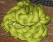 Polish Merino,Neon Lyman Green, 4 oz, Combed Top, Roving, Spinning or Felting