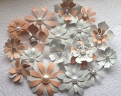 Enamel Flower Brooch Lot of 17 Handmade Metal Flower Brooches in Peach White and Gold with Pearls and Rhinestones Peach Metal Flower Broach