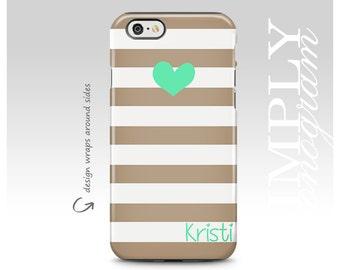 iPhone 6 Case, iPhone 7 Plus Case, iPhone 8 Case, iPhone 7 Case, iPhone X Case, Samsung Galaxy Case, Galaxy S8 Case, Beige Stripe Mint Heart