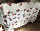 Vintage 1950's Christmas Cotton Table Cloth Mid Century Christmas Holiday Retro Christmas Decor