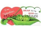 vintage Valentine DIGITAL DOWNLOAD •  peas in a pod • 1950's Valentine • JPEG digital download