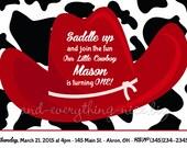 Red Farm Cow Cowboy Hat Western Kids Photo Birthday Party Invitations | Custom Design | Professionally Printed Card Stock | Boy Girl Twin