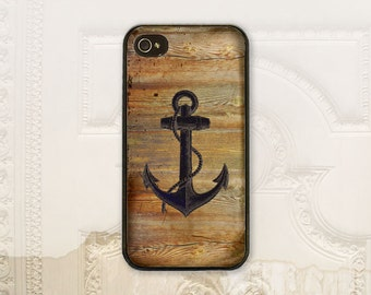 Anchor phone case, iPhone 4 4S 5 5s 5C 6 6+ Plus, Samsung Galaxy s3 s4 s5 s6, Faux solid wood texture nautical phone case Gift for him M6019
